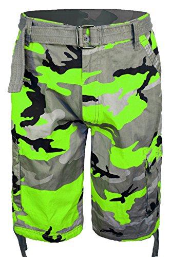 Guytalk Men's Camo Cargo Military Short Lime 44