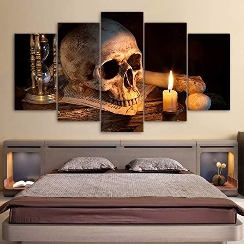 Kunstdruk op canvas, modern, wandfoto, decoratie, 5 panelen, griezelscheddel, verbrande schedel, kaars woonkamer HD, bedrukt, modulair fotoschilderij L-30x40 30x60 30x80cm Frame