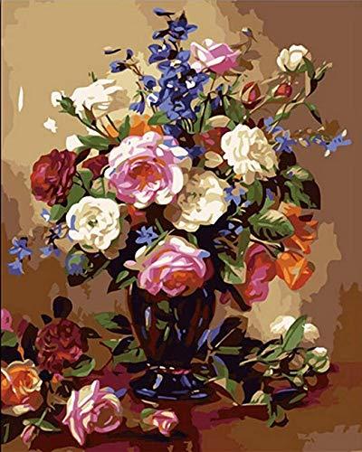 N/ Een doe-het-zelf digitaal schilderij, tik hand geschilderd op de muur, olieverf op doek, bruiloft decoratie bloemen voor kinderen en volwassenen