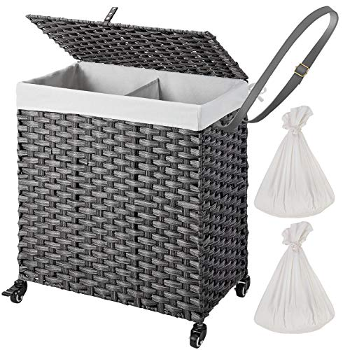 Greenstell Laundry Hamper with Wheels and 2 Removable Liner Bags Divided Clothes Laundry Basket with Lid and Handles Synthetic Rattan Handwoven Clothes Basket Foldable and Easy to Install Gray