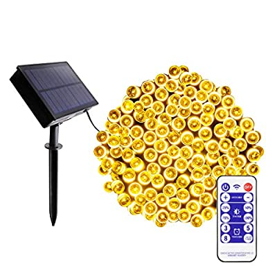 Blingstar Solar Christmas Lights 200 LED 75ft String Lights 8 Modes Waterproof Fairy Lights Remote Control & Timer Warm White Solar Powered Christmas Lights for Indoor Outdoor Home Patio Decoration