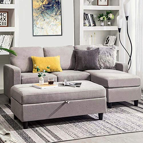 HONBAY Grey Sectional Couch with Ottoman, Convertible L Shaped Chaise Sofa Sleeper Set Sectional with Left or Right Facing (Grey)