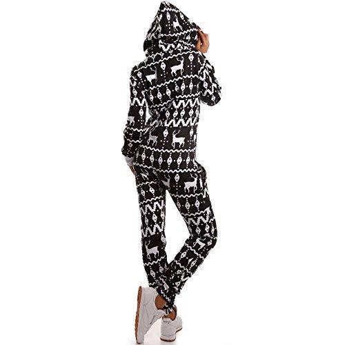 Crazy Age Jumpsuit Warm, Weich und Kuschelig mit Renntier/Eiskristall Design (Schwarz, M) - 3