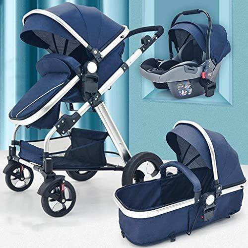 Cochecito recién nacido, PROM AJUSTABLE VISTA ALTERIOR, Sistema de viaje de cochecito de paraguas con canasta para bebés y resortes anti-shock, silla de carruaje infantil (negro) (color: azul + asient