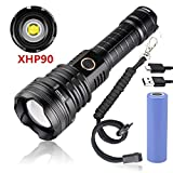 Garberiel XHP90 Rechargeable High Lumen Flashlight Super Bright Zoomable Waterproof LED Flashlight Torch