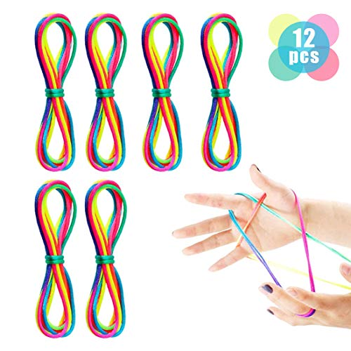 Finger Twist Fadenspiel Rainbow Rope Fingertwist Regenbogen Fadenspiel Fingerspiel,Regenbogen Schnur Finger kleines Geschenk (12PCS)