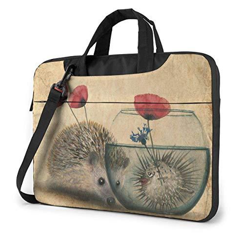 DJNGN Laptop Shoulder Bag 14 Inch, Cute Hedgehog Briefcase Bag