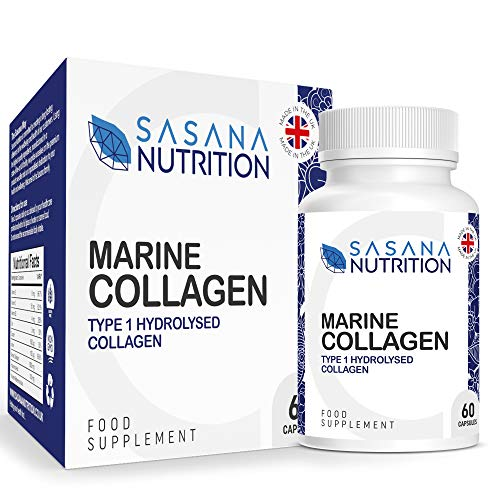 Sasana Nutrition Marine Collagen Tablets - 60 Hydrolysed Marine Collagen Capsules Boosted with Hyaluronic Acid, Vitamin C, Vitamin E, and Vitamin B2 - Manufactured in The UK
