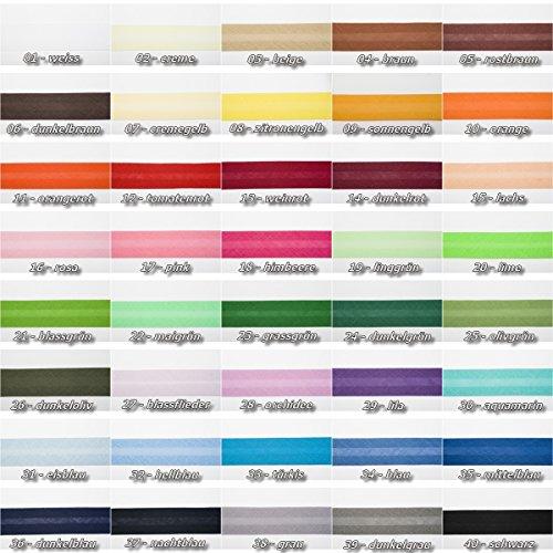 Jajasio Baumwoll Schrägband 19mm breit in 40 Farben, Einfassband Baumwolle Nahtband/Farbe: 40 - schwarz