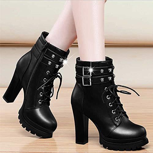 Shukun enkellaarsjes Martin laarzen dameslaarzen kinderschoenen met wilde herfst en winter hoge hakken zwart dik met zwarte enkellaarzen
