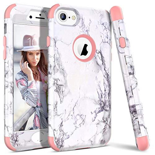 WE LOVE CASE iPhone 7 Cover Marmo 360-Grad all Inclusive Custodia Rose Cassa Duro del PC di Plastica e Silicone Protezione Shock Proof Anti Graffio Caso per Apple iPhone 7 / iPhone 8 4,7'
