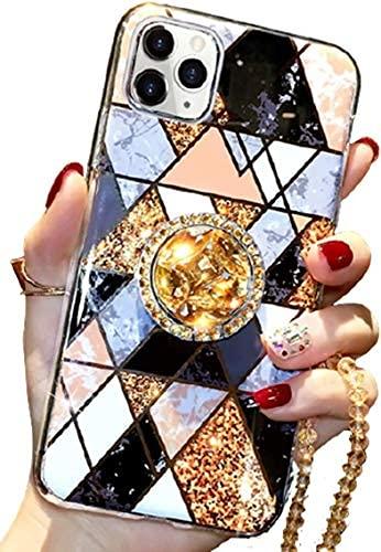 per iPhone 11 pro caso con anello Stand di lusso Bling Diamante Glitter Marmo Design Soft TPU Bumper Phone caso per…