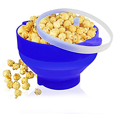 Sunwod Microwave Popcorn Popper,Silicone Popcorn Maker Collapsible Bowl Popper,Creative high temperature resistant large silicone bucket with lid?Blue?