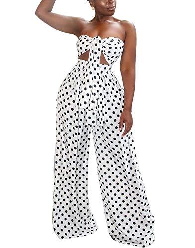 LKOUS Womens Summer Sexy Polka Dot Off Shoulder Sleeveless Backless Bra Crop Top and High Waist Long Pants 2 Pieces Outfit