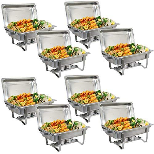 Rectangular Chafing Dish Full Size Chafer Dish Set 8 Pack of 8 Quart Stainless Steel Frame Chafers