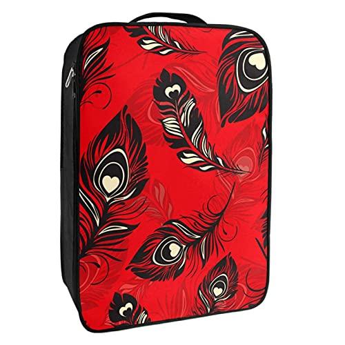 Schuh-Aufbewahrungsbox für Reisen und den täglichen Gebrauch, Federn, rot, Schuh-Organizer, tragbar, wasserdicht bis zu 12 Meter, mit doppeltem Reißverschluss, 4 Taschen