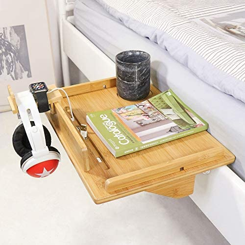 Bedside Table Caddy, Bamboo Nightstand Bed Shelf, Bedside Organizer Tray for Bunkbed with Cup Holder & Cable Slots(Include Watch Headset Stand) -Beebo Beabo