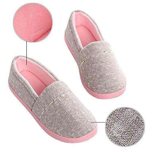 Zapatillas Cerradas de Estar para Mujer, Zapatos de Casa Ligeros y Holgados con Forro de Felpa para Mujer con Suela de Goma Antideslizante para Interiores y Exteriores (Gris, Numeric_40)