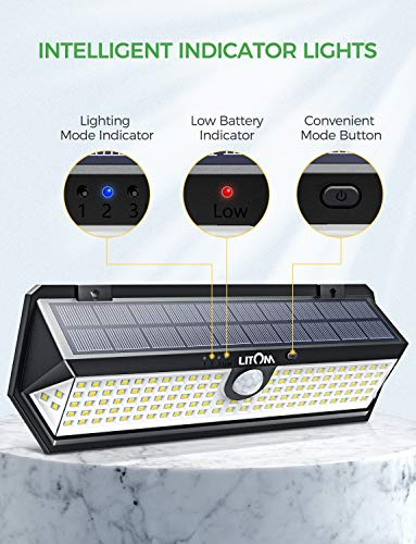 LITOM Solar Motion Sensor Light, Large Size 122 LED Solar Lights with Front Button, Indicator Lights, 3 Modes and IP67 Waterproof Rating for Door, Garden, Deck, Porch- 4 Pack