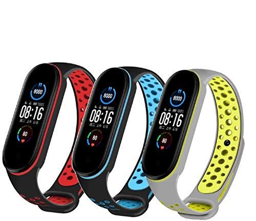 PaceBid 3 Piezas Correas Compatible con Xiaomi Mi Band 5, Impermeable Ajustable Silicona Reloj de Recambio Brazalete Correas,Suave, Transpirable, Resistente Banda para Xiaomi Mi Band 5