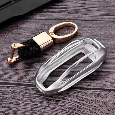 BAOBUM Cubierta de la Llave del Coche Funda de aleación de aleación de aleación de aleación de Aluminio Tesla Modelo X Smart Remout Key Cadena de Shell Accesorios Chaqueta sin Llave