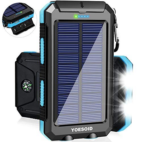 Solar Charger 20000mAh YOESOID Portable Outdoor Waterproof Solar Power Bank Camping External Battery Packs with Dual USB Output 2 Led Light Flashlight Compatible Most Smart Phones, Tablets and More