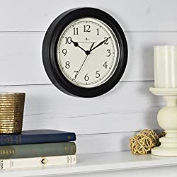FirsTime & Co. Black Essential Wall Clock, 8.5