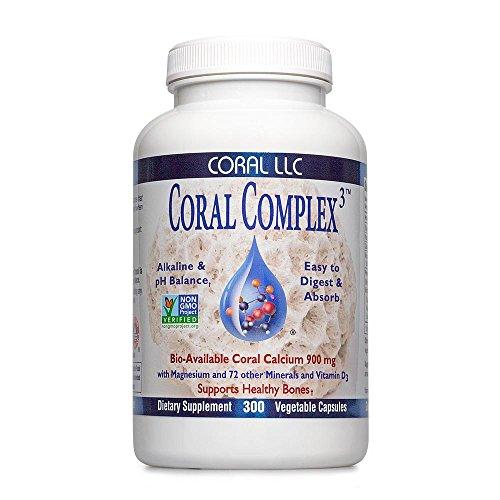 Coral Calcium - Coral Complex 3 900 milligrams of Bio-Available Coral Calcium with 1200 IU's of Vitamin D3 (300 Capsules)