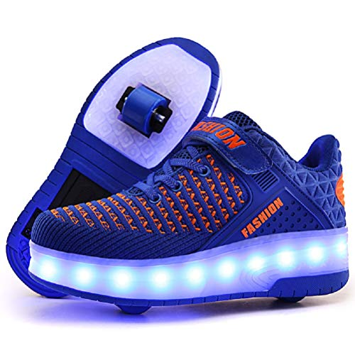 Ufatansy LED Shoes USB Charging Flashing Sneakers Light Up Roller Shoes Skates Sneakers with Wheels for Kids Girls Boys(13 M US =CN31, Double Wheel, Blue)