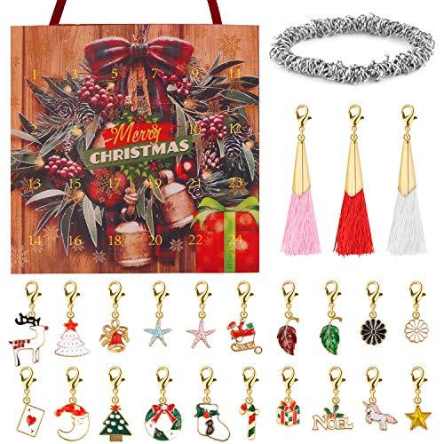Calendario de Cuenta Regresiva de Adviento de Navidad 24 días DIY Pulsera Collar encantos joyería Bolso Conjunto de Caja para niñas niños