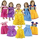 18 Inch Doll Clothes, 5 Pc Different Princess Costume Dress Set Includes Bella, Cinderella, Snow white, Mermaid and Aurora costume Dress Fits American Girl Dolls, My Life As Doll from Dreamgirl World Collections