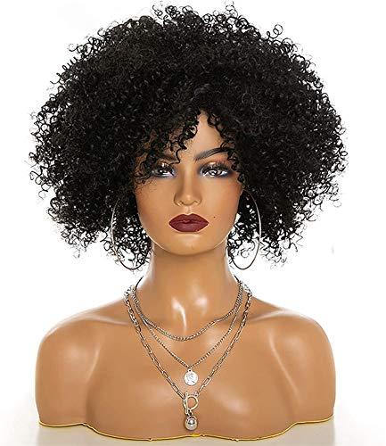 L&B-MR Pelucas Pelucas Afro Rizado Negras para Mujeres Longitud De Hombro Peluca Afro Kinkys Curly Peluca De Pelo Sintético Cosplay Fiesta Diario