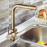 LAntique Latón Dos palancas Grifo de filtro de agua de 3 vías Grifo de fregadero de cocina Mezclador