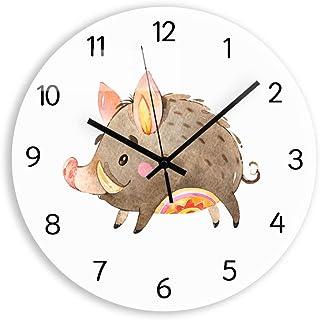 N/ A Reloj de Pared Digital de jabalí de Dibujos Animados Mecanismo de Cuarzo Mudo decoración de Sala de Estar Reloj de Pared