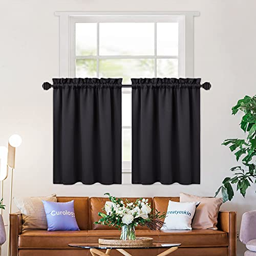 NANAN Home Decorations Short Curtains for Small Windows,36 Inch Length Blackout Bathroom Window Curtain,Tier Curtains for Living Room,Black 26 x 36 Inches Set of 2