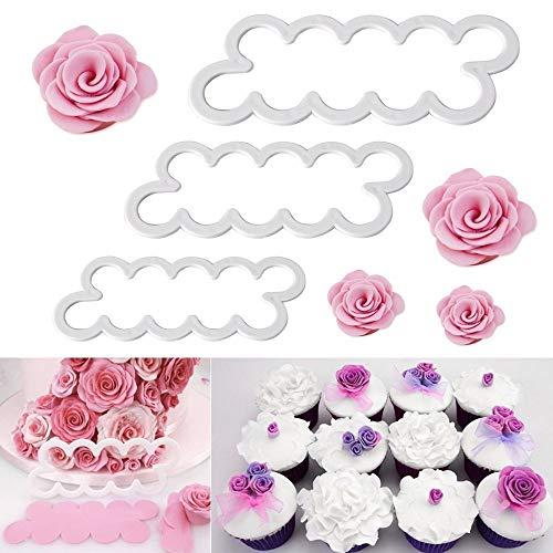 WADY 3 tamaños diferentes de rosas cortadores DIY fondant Moldes decoración Cookies Fondant Pastel Sugarcraft Moldes Bloque Herramientas Cutter Tool