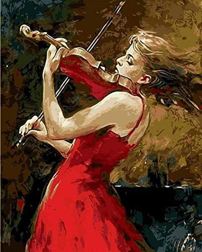 Schilderen op nummer, doe-het-zelf digitale olieverfschilderij rode rok klein meisje speelt de viool afbeelding op canvas van handwerk 40 x 50 cm