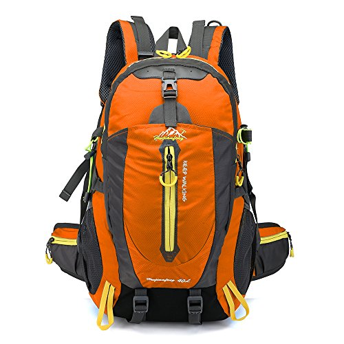 Lixada 40L Resistente al Agua Mochila, Portátil Mochila Trekking, Laptop Daypack, Durable Impermeable, para Escalada, Viajes, Actividades al Aire Libre (Naranja)