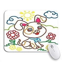 NINEHASA 可愛いマウスパッド 花の牧草地のかわいい犬のカラフルなぬりえ帳滑り止めラバーバッキングコンピュータのマウスパッドノートブックマウスマット