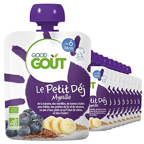 Good Goût - BIO - Gourde Petit Déj Myrtille dès 6 Mois 70 g - Pack de 10