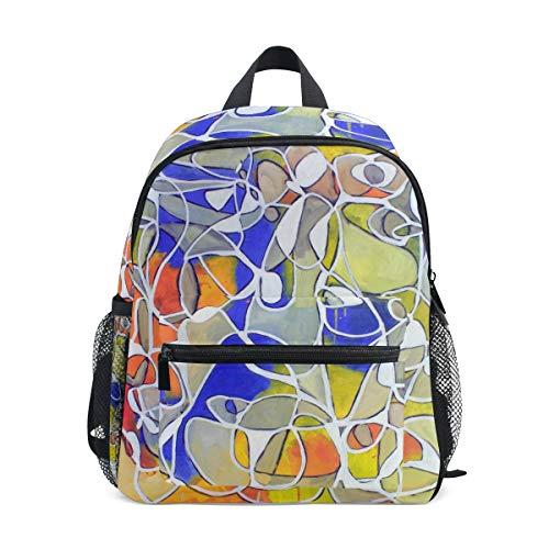 Disegno D'Arte Astratto Zaino per Asilo Nido Prescolare Bambini Studente Bookbag Zainetti per Viaggio Ragazze Ragazzi 2-7 Anni Capretto