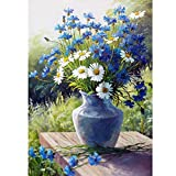 Adults 5D DIY Diamond Painting Kits, Daisy Flowers Paint by Number Kits Round Full Drill Art Perfect for Relaxation and Home Wall Decor