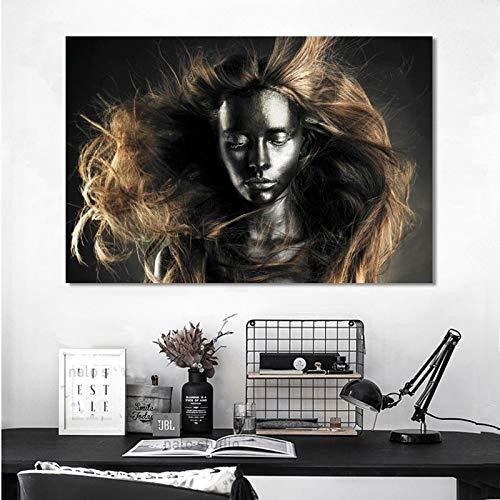 KWzEQ Retrato Africano Africano de la Lona de la Mujer Africana del Oro y Cartel Indio y impresión escandinava,Pintura sin Marco,45x67cm