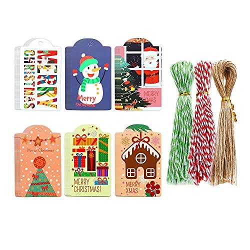 Etiquetas 144 Etiquetas Colgantes de Navidad Muedicolor Etiquetas de Papel de 150 Cuerdas Envoltura de Navidad Presente Decoración navideña para niños Adulto