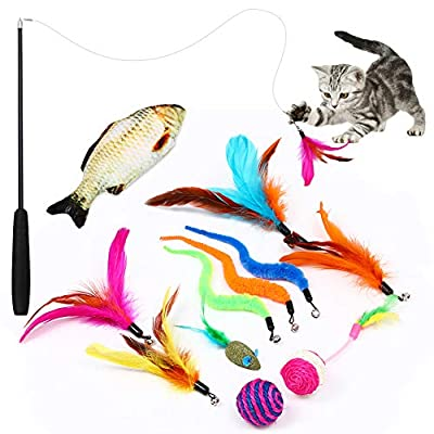 Easeou Cat Toys for Indoor Cats, 12 PCS Retractable Kitten Feather Toys for Indoor Cats, Catnip Fish,Mice Cat Wand Toys, Interactive Catcher Teaser and Funny Exercise Balls and Bells