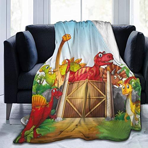 HARXISE Flanell Fleece Soft Throw Decke,Cartoon Art Dinosaurier in einem Dino Park Dschungel Bäume Wildlife Habitat,für Sofas Sofa Stühle Couch Leicht,warm und gemütlich 127x102cm