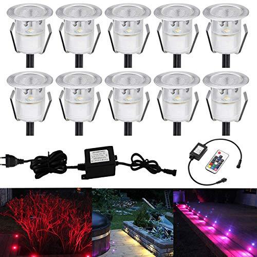 Lot de 10 LED Spot Encastrable Extérieur - Mini spot encastré de Ø30mm Eclairage Encastrables Extérieur pour Terrasse Enterre, IP67 Etanche DC12V Lumière Moderne pour Chemin Escalier Paysage(Multi-Couleur,Changeable)