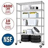 Meet Perfect 6-Shelf Shelving Storage Unit,Heavy Duty Metal Organizer Wire Rack w/Wheels,76 x 48x 18 Adjustable 4800 LBS NSF Shelves- Chrome Silver