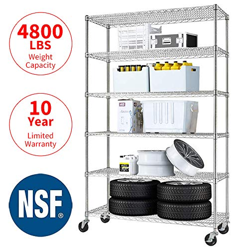 Meet Perfect 6-Shelf Shelving Storage Unit,Heavy Duty Metal Organizer Wire Rack w/Wheels,76 x 48x 18 Adjustable 4800 LBS NSF Shelves- Chrome Silver