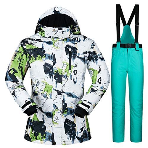 Yeah-hhi Traje de esquí para mujer, juego de chaquetas y pantalones de esquí, resistente al viento, impermeable, para snowboard, para esquí, camping, 4, L
